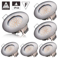 LED Recessed Downlights,Azhien 5W Recessed Ceiling Lights Warm White 2700K 400LM 230V Open Hole Size 68mm Ultra Slim Not Dimmable,IP44 Round Nickel Spotlights for Kitchen Bathroom (Pack of 6) [Energy Class A++]